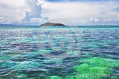 Seascape. Turquoise water, Island