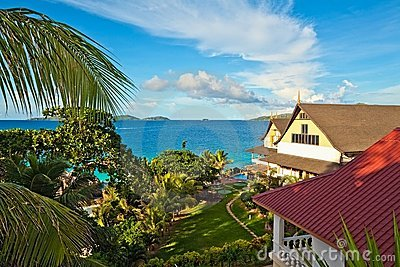 Seascape view with a tropical hotel
