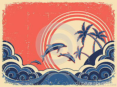 Seascape waves poster with dolphins.