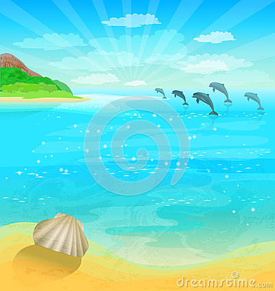Free Seascape With Dolphins Royalty Free Stock Photo - 38425485