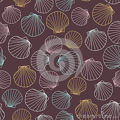 Free Seashell Background. Abstract Seamless Pattern. Royalty Free Stock Image - 61820896