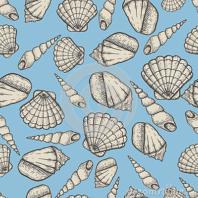 Free Seashell Collection Hand Drawn Aquatic Doodle Vector Illustration. Sketch Seamless Pattern. Royalty Free Stock Images - 93757019