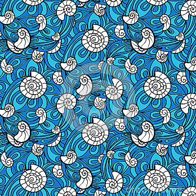 Free Seashell Pattern In Abstract Blue Waves Illustration Royalty Free Stock Image - 62179136