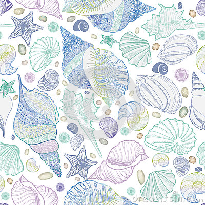 Free Seashell Seamless Pattern. Summer Holiday Marine Underwater Background. Royalty Free Stock Photos - 74575298