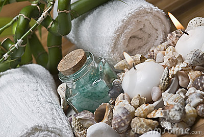 Seashells and hygiene items.