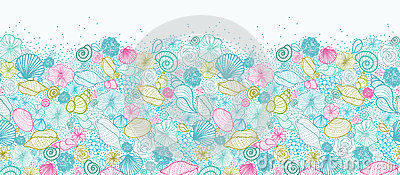 Seashells line art horizontal seamless pattern