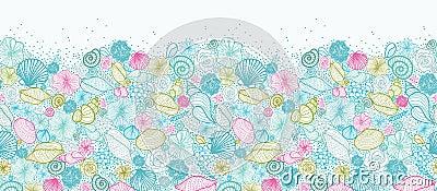 Seashells line art horizontal seamless pattern