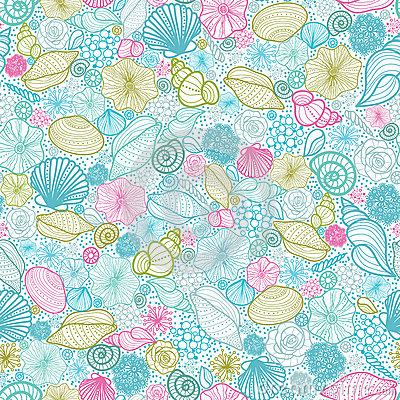 Seashells line art seamless pattern background