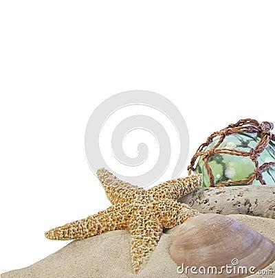 Seashells on sand with glass ball on white