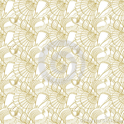 Free Seashells Seamless Pattern. Gold Royalty Free Stock Photos - 49703678