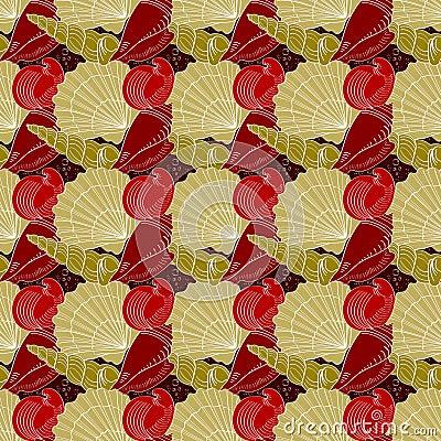 Free Seashells Seamless Pattern. Red, Gold, White Royalty Free Stock Image - 49706966