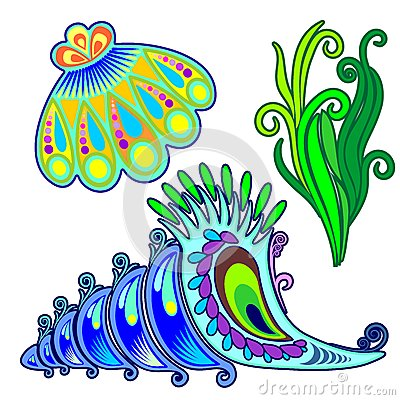 SeaShells and Seaweed Decorative Elements