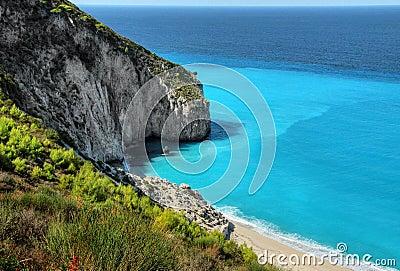 White Sandy Beach Lefkada Island Coast