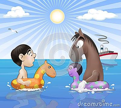 Seaside funny meeting