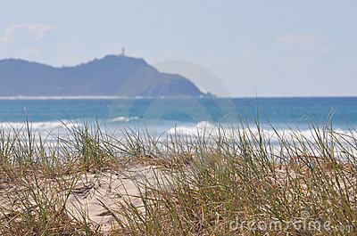 Seaside grass with surf and lighthouse
