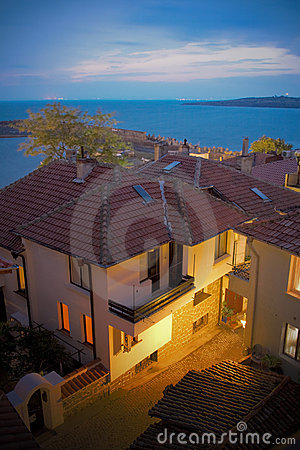 Seaside houses in Sozopol, Bulgaria, at night