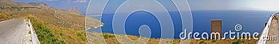 Seaside mountain landscape panorama