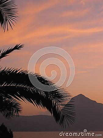 Seaside mountain sunset