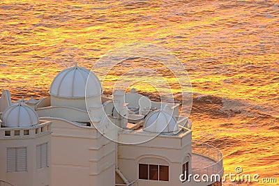 Penthouse view at golden ocean