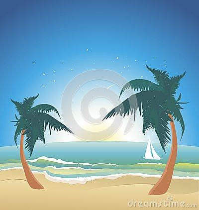Seaside with palms-night