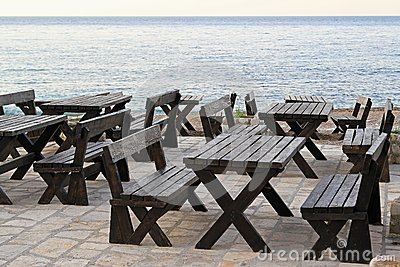 Seaside picnic tables