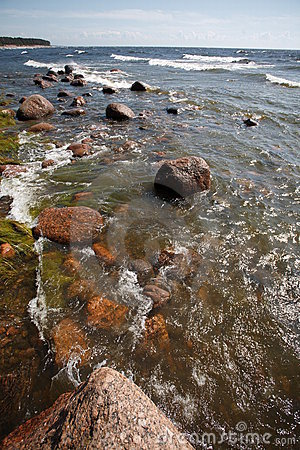 Seaside with rocks and waves