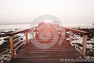 Seaside trestle bridge