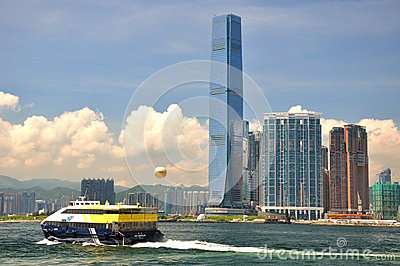 Seaside view in Hongkong West Kowloon Editorial Photography