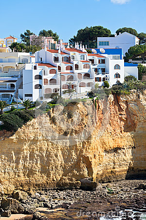 Seaside village on a cliff overlooking the ocean in Portugal