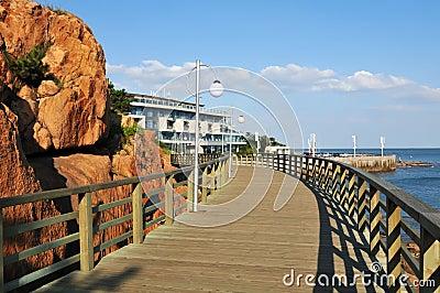 Seaside wooden plank