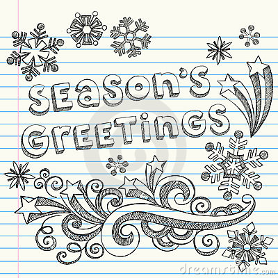 Season s Greetings Hand-Drawn Sketchy Doodles