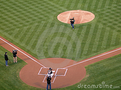 Season Ticket holder throws out the first pitch Editorial Photography