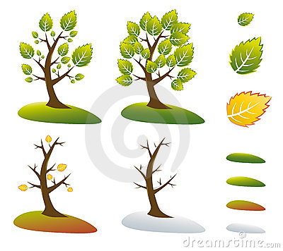 Season tree symbols vector illustration