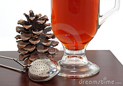 Seasonal Hot Tea And Strainer Close Up