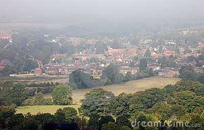 Seasonal morning mists over an English town