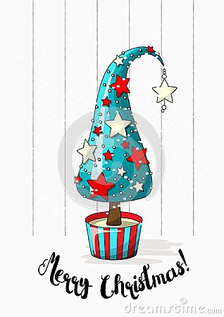 Free Seasonal Motive, Abstract Christmas Tree With Stars, Pearls And Text Merry Christmas, Vector Illustration Royalty Free Stock Photography - 100516367