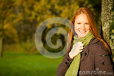 Seasonal Portrait of a Woman in a Park