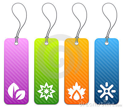 Seasonal product tags in 4 colors