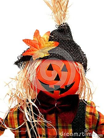 Seasonal:  Pumpkin Headed Scarecrow on White