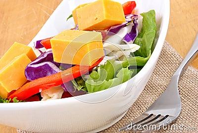 Seasonal salad with mature cheese