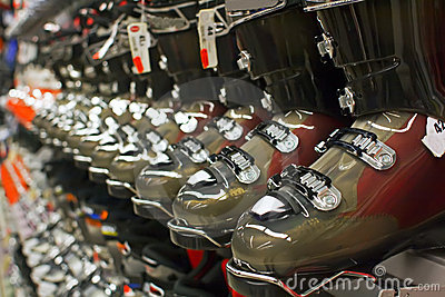 Seasonal Sale Of Ski Equipment Stock Image - Image: 12906511
