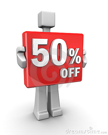 Seasonal sales 50 pecent off for shopping discount
