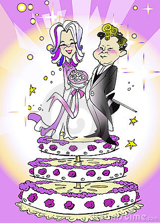 Wedding Just Married, Couple, Cartoon