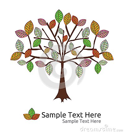Seasonal tree autumn  template