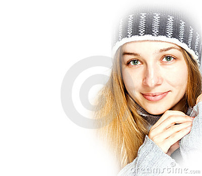 Seasonal winter portrait of beautiful young woman