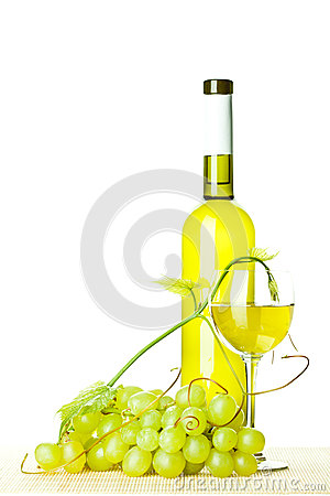 Seasoned wine and branch of green grapes