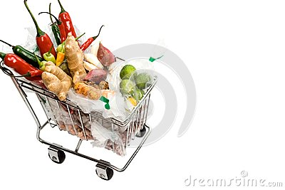 Seasoning ingredients on a shopping cart