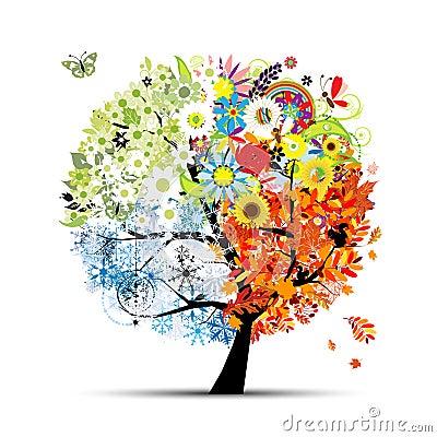 Free Seasons - Spring, Summer, Autumn, Winter. Art Tree Royalty Free Stock Image - 21039356