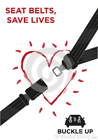 Seat Belt With A Glowing Heart Vector Concept Stock Vector