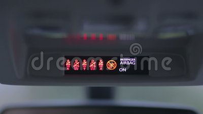 Seat belt warning light of car dashboard stock footage